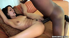 Brunette Lyla Storm gets a hard pounding from his big, black snake