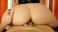 The hot blonde gives him a deep blowjob before sliding that dick in her peach