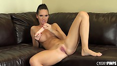 Jennifer Dark delivers that hard dildo to her juicy snatch patch