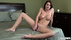 Brooklyn spreads her wonderful body across the bed and enjoys the hot masturbation