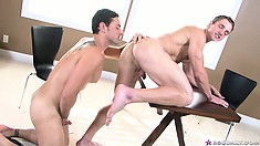 Hot gay cock sucking and ass fucking action on the conference table