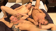 All three twinks like cock in their mouth, all connected at the root