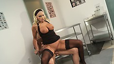 Gorgeous stacked milf sucks a big dick and rides it with sweeping desire and joy
