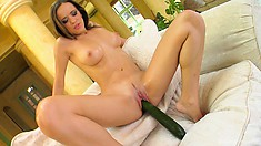 Klaudia fucks herself with a cucumber and then shows her pink hole