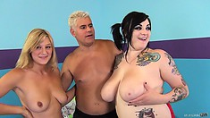 Scarlet LaVey gets her chubby tits covered in cum after a threeway