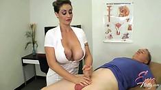 Big boobed Eva Notty strokes and titty fucks his hard cock making him cum