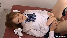 Sakamoto Hikari's schoolgirl pussy gets twiddled and twaddled by the doctor