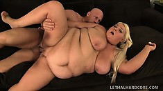 Fat as fuck blonde bitch gets her hamwallet obliterated on a couch