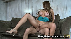 Latina with massive silicone titties gets fucked till she cums