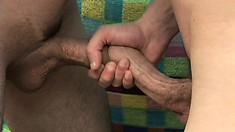 Tempestuous broken-wrist is seducing the ass of his sensitive partner