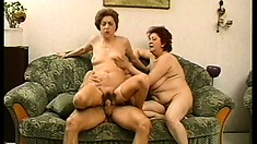 Two chubby grannies get their freak on with a young stud's member
