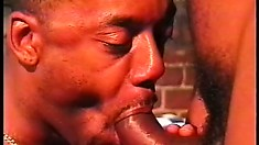 Two ebony hunks blow each other's cocks and then engage in hot anal sex