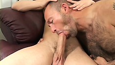 Three horny gay friends get down and dirty all over the couch