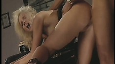 Stacked blonde with hot legs Hannah Harper relishes every thrust of dick in her cunt