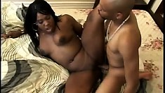 Provocative ebony girl with a wonderful booty gets banged hard by a big black dick
