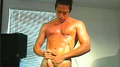 Hunky guy Marc Sabre massages his body and jerks his dick to orgasm