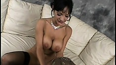 Busty brunette MILF bounces her perfect hooters as she takes a cock ride