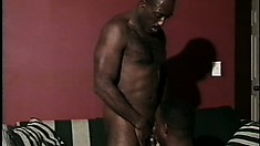 Ripped as hell black dude gets off with the help of his lover