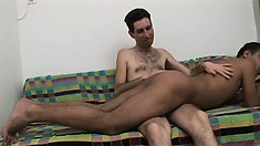 Hot gay studs spank each other's asses before engaging in bareback anal sex
