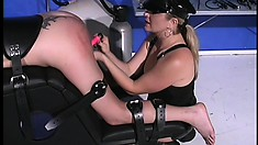 Nasty blonde slave gets taught a lesson by her lesbian mistress