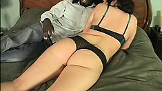 White girl backs up to a big black cock to get her pussy stretched wide