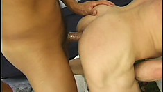 Playful stud with big black mustaches pokes dick in guy's face