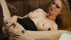 Slutty secretary gets her porcelain butt slammed by her hung black boss
