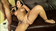 Wild brunette with big tits Kori surrenders her fiery pussy to a huge black dick
