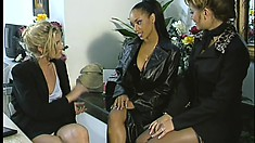 Three wild lesbians explore their sexual desires in a doctor's office