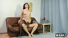 Hot mature lady in black stockings Natalya gets fucked by a young stud