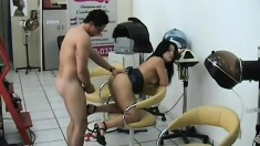 Scrumptious hot stuff Cristal visits salon and gets busted hard