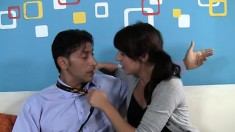 Teasing student Mila wants to taste and ride her teacher's cock