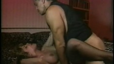 Squealing chick in sexy fishnets gets her brains screwed out