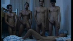 After dark, the cocksucking orgy begins in this Hungarian dormitory