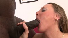 His long black dong goes the extra mile in this brunette slut