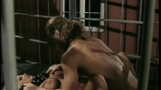Alex Sanders pounds the stacked blonde's fiery snatch in a prison cell