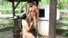 Black slave has his owner sucking his cock before he drills his ass