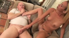 Horny old man has the pretty young blonde Jayden Rose pleasing his cock