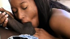 Lusty black babe Peaches gets her hairy snatch drilled deep and hard