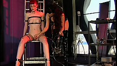 Gorgeous geeky redhead gets teased at her fine mistress' leisure