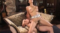 Busty girl with hot legs Shy Love fully enjoys having a long cock drilling her ass