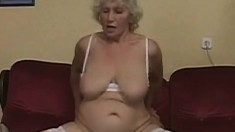 Slutty granny wants to be a schoolgirl again and has a young dick to help her out
