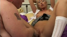 Chunky mature woman and sweet young babe make each other cum hard on the bed