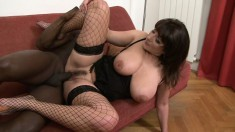 Sofia has natural boobs and gets her hairy pussy fucked by Johnny B