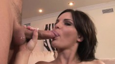 This brunette bimbo feats on big cocks like there's no tomorrow