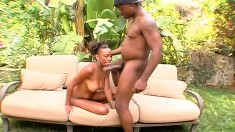 Samantha puts her hot body on display and gets fucked by a black guy