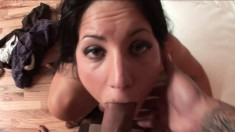 Lustful Lina Paige blows her man's cock and swallows every drop of cum