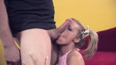 Frisky blonde Jenna loves having a fat bone up her tight asshole