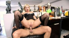 Inviting blonde in sexy lingerie Donna Bell takes a big rod in her ass