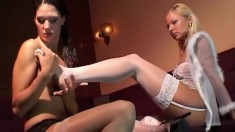 Sandra & Katya take off their lingerie to get in some lesbian pussy play